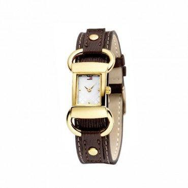 1780622 Γυναικείο μοντέρνο ρολόι TOMMY HILFIGER με επίχρυση κάσα με πόρπες και καφέ λουρί δέρμα | TOMMY γυναικεία ρολόγια ΤΣΑΛΔΑΡΗΣ στο Χαλάνδρι #Tommy #Hilfiger #επιχρυσο #δερμα #ρολοι