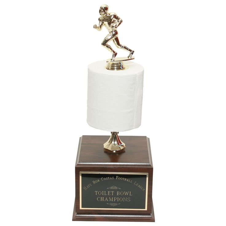 Perpetual Football Toilet Paper Trophy makes the perfect fantasy loser's trophy!  Engrave your fantasy league's loser's names on the sides year after year. Oh the humiliation!