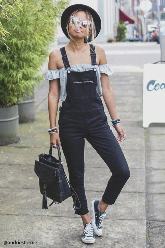 Que porter avec une salopette salopette en jean noir sac a main moderne en cuir