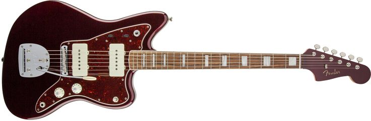 Fender Troy Van Leeuwen Jazzmaster®, Bound Rosewood Fingerboard, Oxblood.  A Jazzmaster for a Rock Guitar Hero!  Kembali ke tahun 1990-an dan sampai hari ini, Troy Van Leeuwen telah memberikan kontribusi gitar tekstur dan atmospherics untuk beberapa band paling terkenal dan berpikiran maju alt-heavy rock. Memberi pengaruh pada tahun 90-an untuk band alternatif,