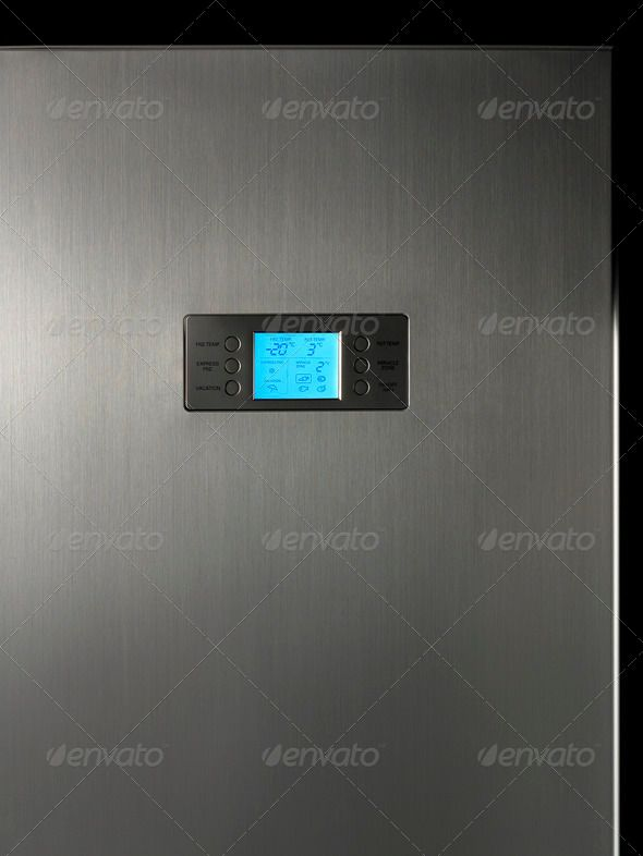 Modern refrigerator display control panel ...  Household Objects/Equipment, aluminum, appliance, button, choice, close-up, cold, control, control pannel, cycle, digital display, digital timer, freon, frozen, knob, led, low key, nobody, objects/equipment, push button, refrigerator, silver, timer