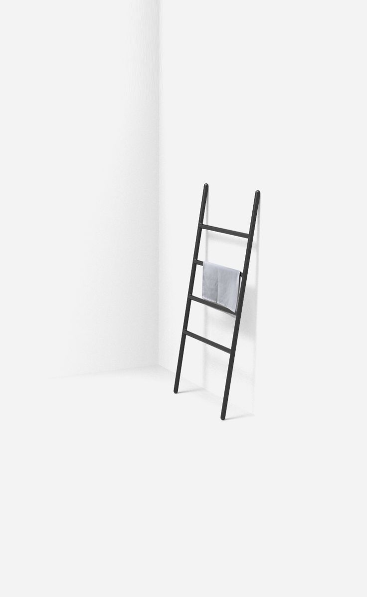 Minimal Ladder Towel Rack designed and made with Aalo