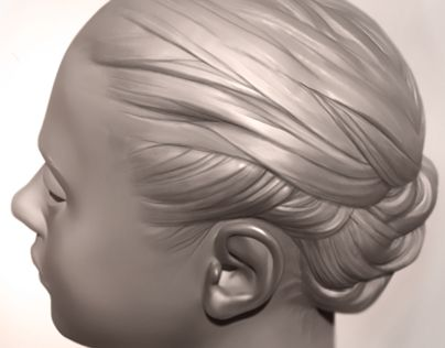 This is a super fast hair sculpt (playing around with a random hairstyle) that I did in ZBrush a while ago.
