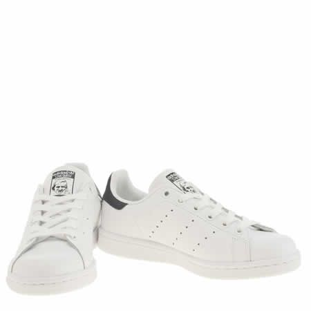 womens adidas white & navy stan smith trainers