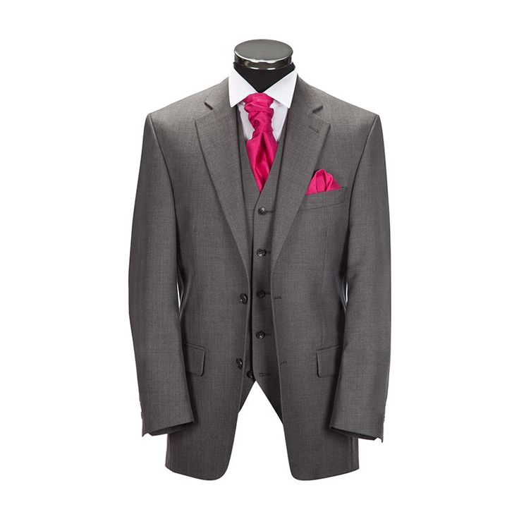 Slaters Formal Hire - Mid Grey Short Morning Jacket is available with matching Mid Grey Trousers also available in Black and Navy £82 package includes suit, waistcoat, shirt, tie and handkerchief.