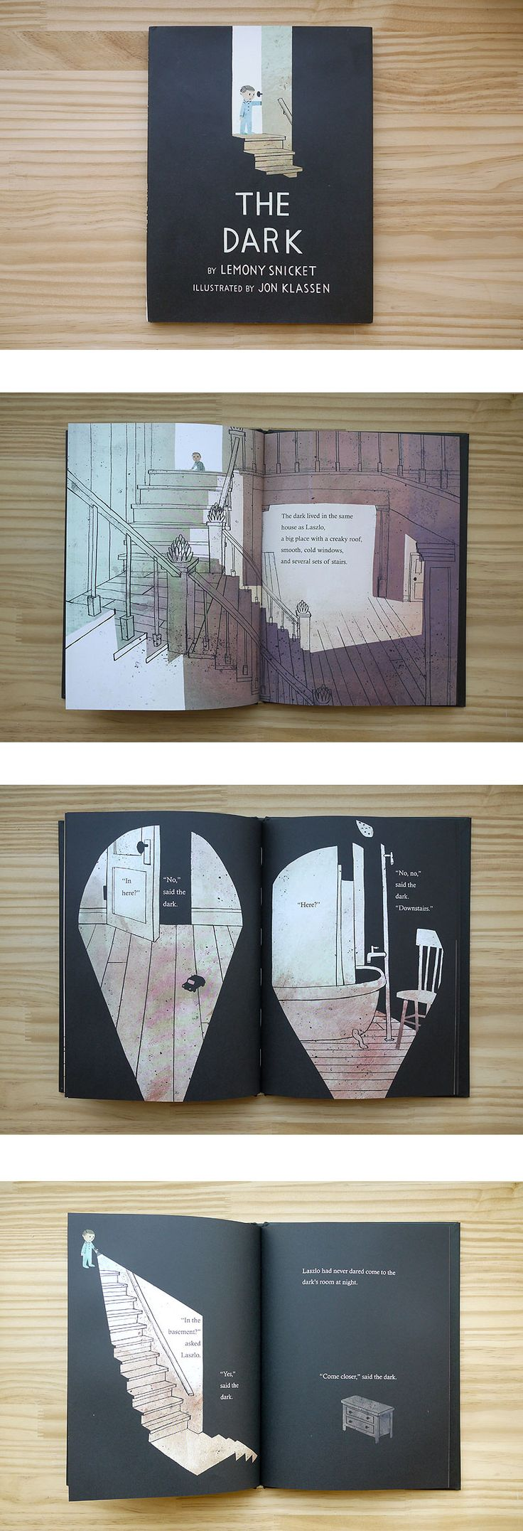 The Dark by Lemony Snicket, illustrated by Jon Klassen. Ive looked at this as Jon Klassen is a favourite children's book illustrator of mine, his work is child friendly but quite sophisticated in the overall look of the work he creates. In reference to the theme of my book being Pandoras Box, this book uses dark and light and the idea of fear in a child friendly way.