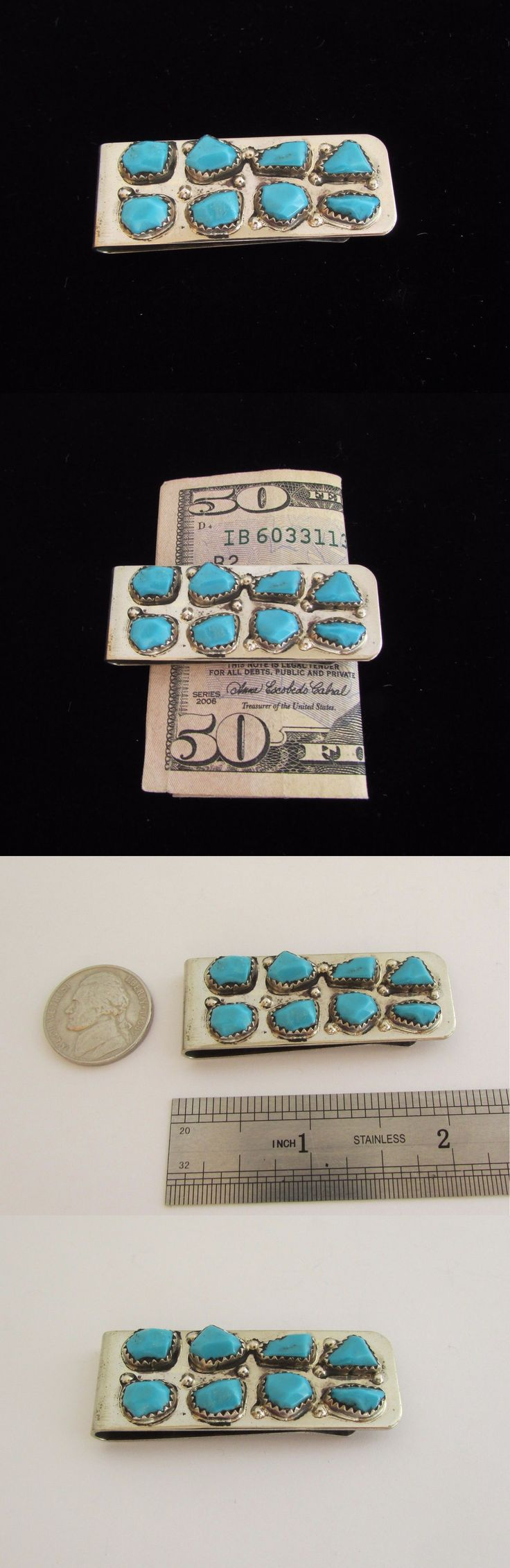 Other Native American Jewelry 11315: Native American Navajo Sterling Silver Kingman Turquoise Money Clip BUY IT NOW ONLY: $35.0