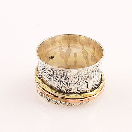 Sterling Silver Copper And Brass Spinner Ring Details