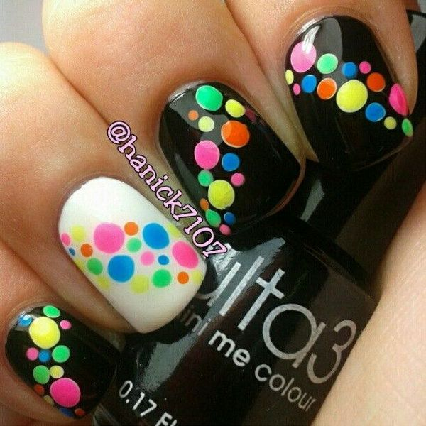 Neon Dots on Black and One White Accent Nails.