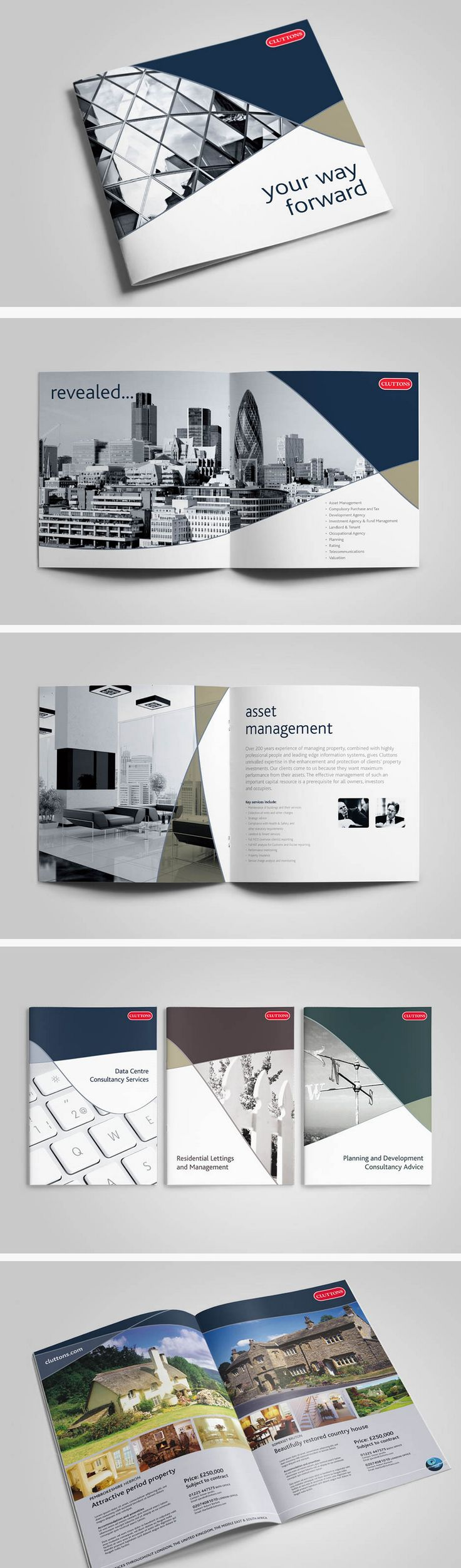 Branded brochure and print collateral system for an international firm of chartered surveyors and property consultants.  #Brochure #GraphicDesign