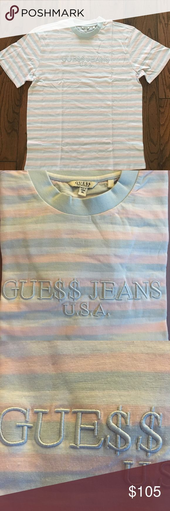 Guess x Asap Rocky Cotton Candy Shirt Guess x Asap Rocky  Striped Tee Shirt In The Cotton Candy colorway!  Condition: no flaws  Size: XL. Fits slightly oversized  Ships via USPS 1-3 day Priority Mail. Items are shipped the same or next business day. Guess Shirts Tees - Short Sleeve