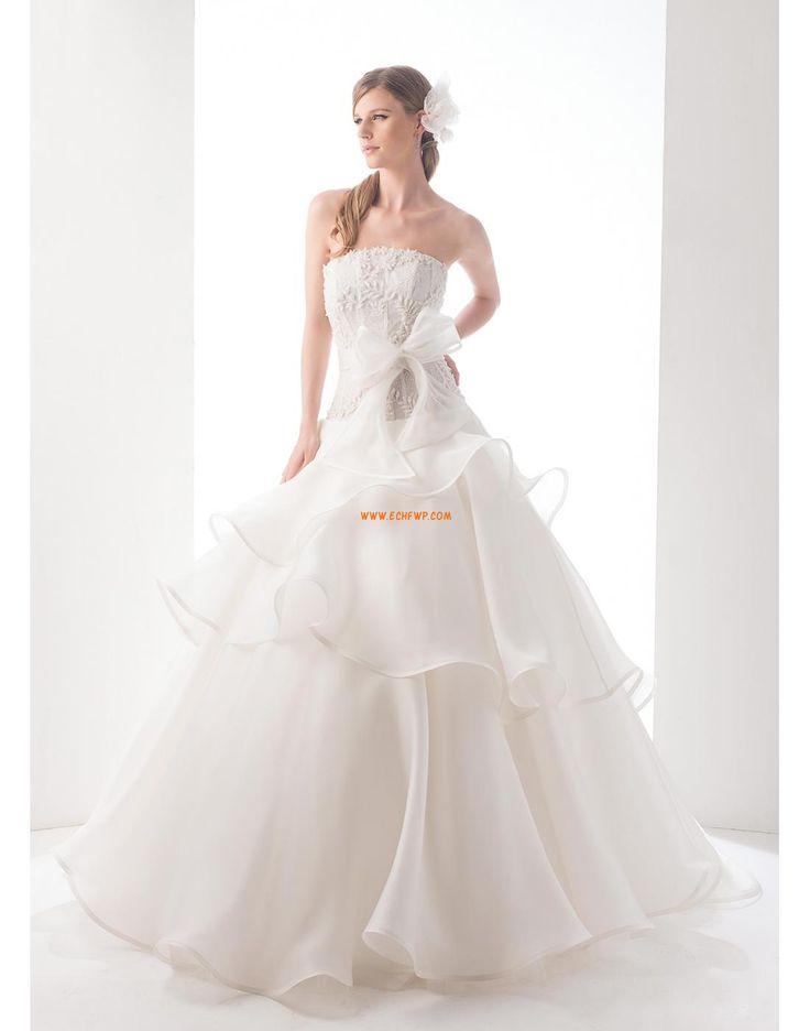 Pánt nélküli Organza Masni(k) Menyasszonyi ruhák 2015