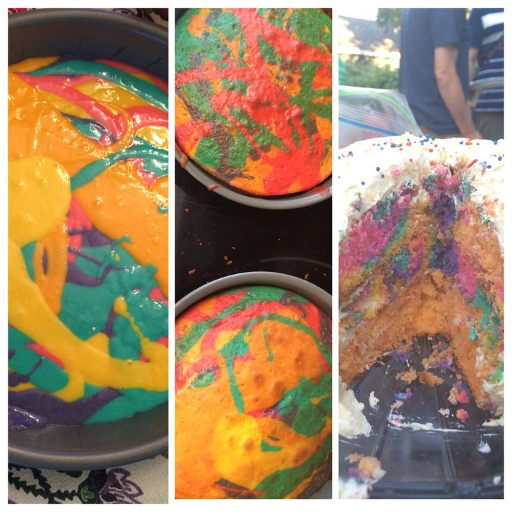 Tie-dye cakes! Also really easy.
