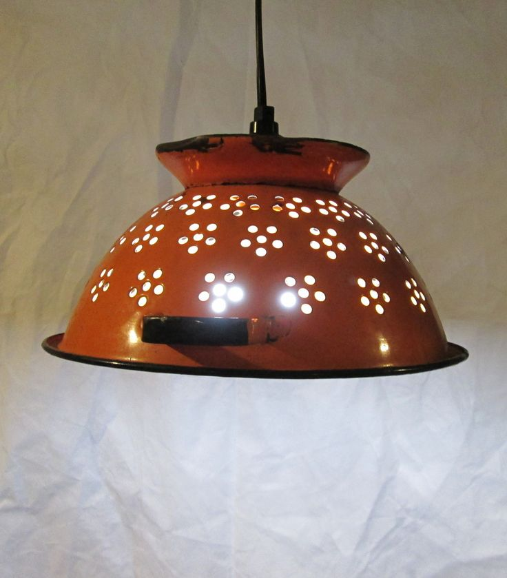 Vintage Colandar, Upcycled Pendant Light, Repurposed