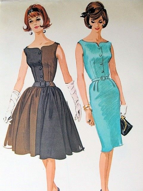 1960s McCALLS DRESS PATTERN 6043 RARE HANNAH TROY PETITE SIZE SLIM or FULL SKIRT, BEAUTIFULLY FITTED BODICE, CURVED NECKLINE