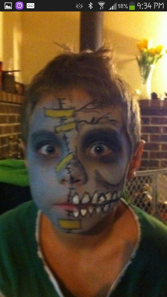Halloween zombie makeup for Jack.. Kid friendly enough!!