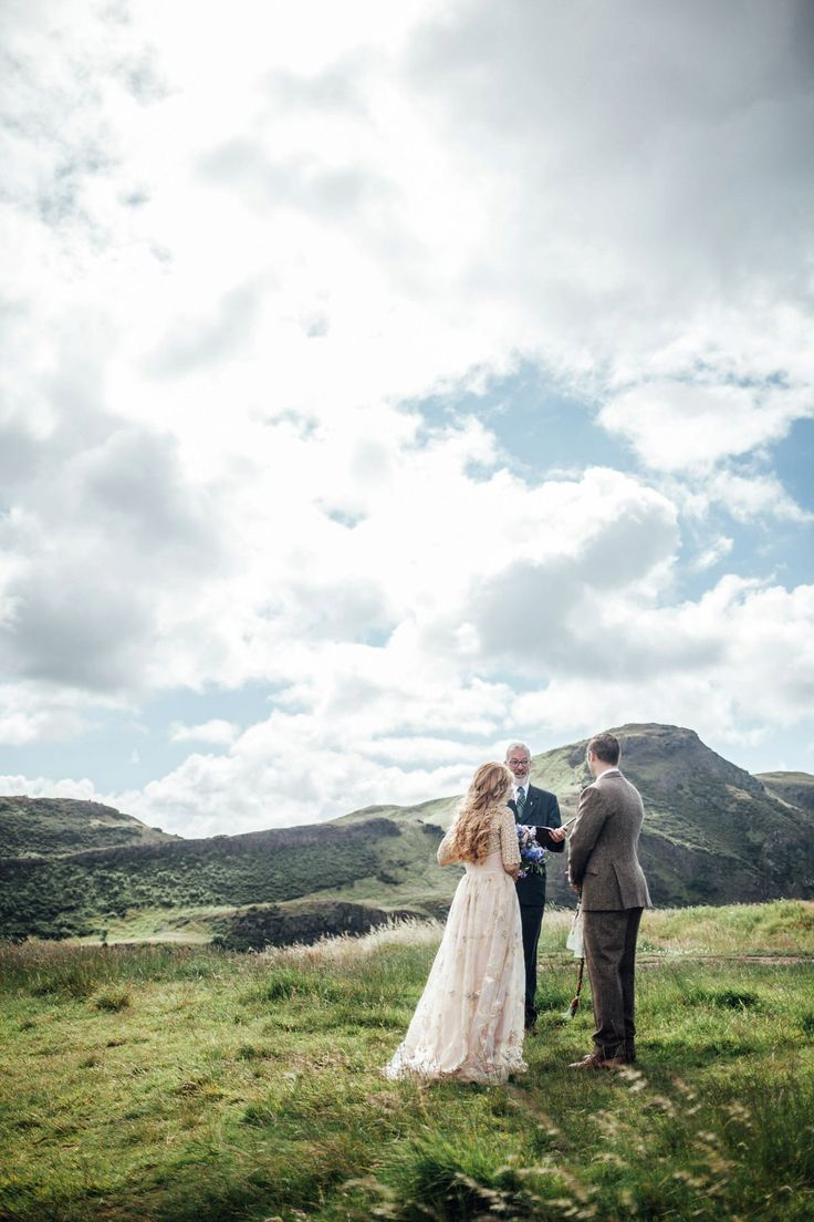 Bride and groom from an outdoor Scottish elopement ceremony. Photography by Carley Buick.