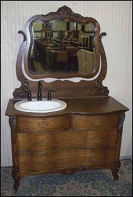 antique dresser as bathroom vanity | Antique Bathroom Vanity: Antique Oak Dresser w/ Kohler Sink and Price ...