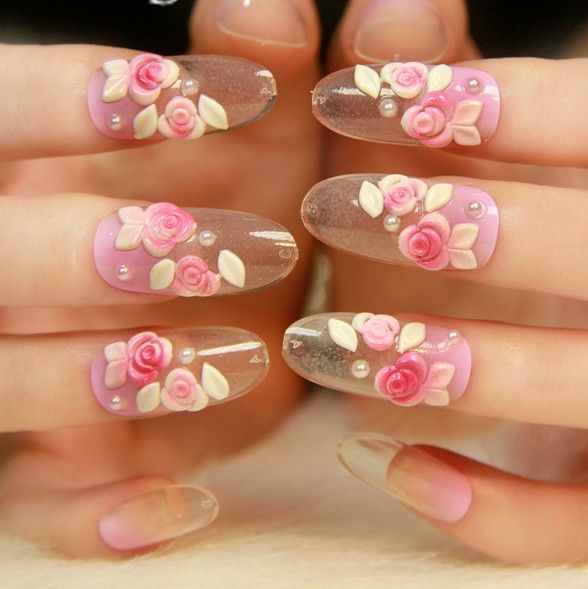 Acrylic Nail Art Rose: New 2013 Acrylic Rose 3d Decor Long Clear False Nails,24