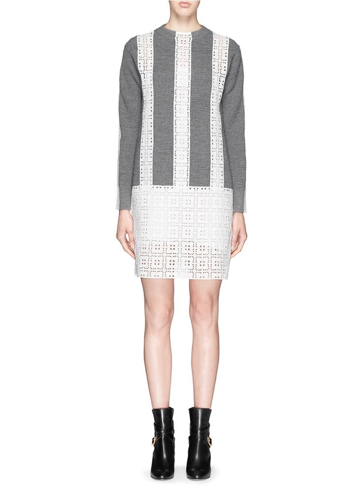 SACAI LUCK Broderie anglaise wool sweater dress