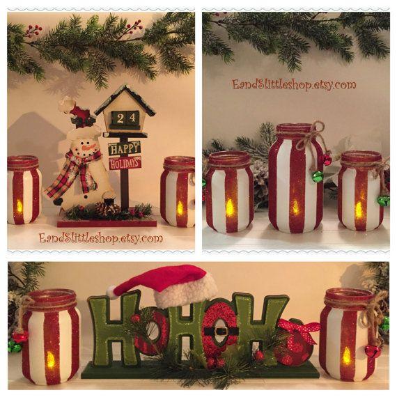 Glitter Mason Jars Candle Holder-Christmas by EandSlittleShop