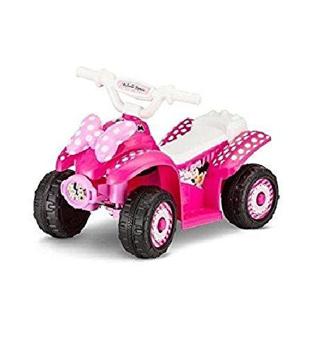 Disney Minnie 6V Battery Powered Ride-On Quad, Tough treaded ATV Wheels, with charger