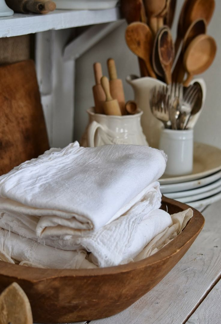 Fresh Farmhouse Kitchen Details; rustic wooden spoons and bowls