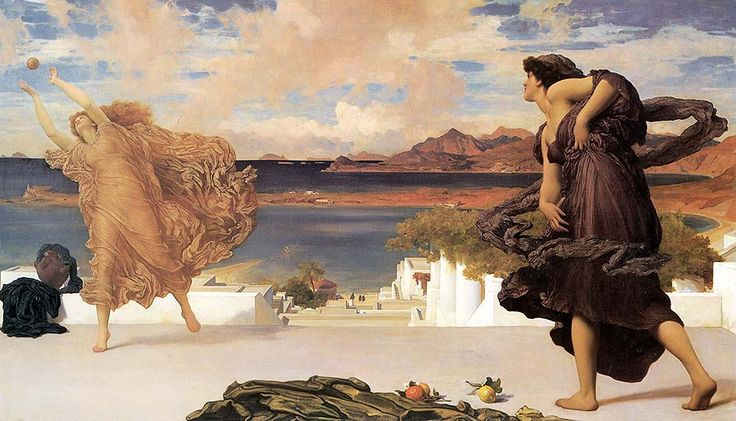 """leighton frederick greek girls playing at ball (from <a href=""""http://www.oldpainters.org/picture.php?/28953/category/12790""""></a>)"""