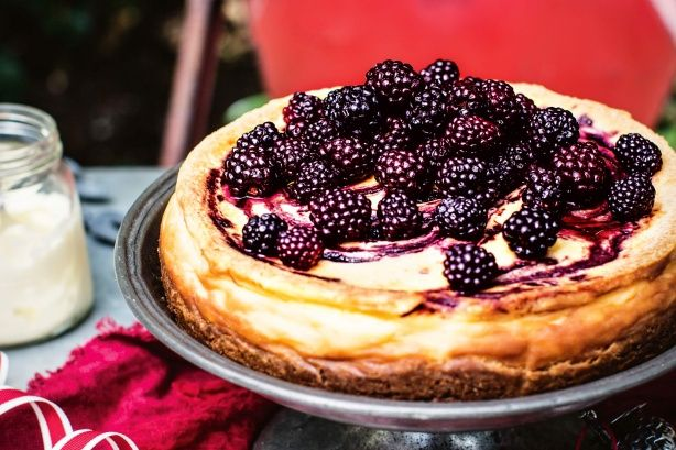 For the perfect finale to Christmas lunch, try Katie Quinn Davies' make-ahead blackberry, almond and white chocolate cheesecake.