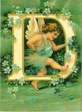 Letter D Initial and Cupid Clapsaddle Alphabet Repro Postcard
