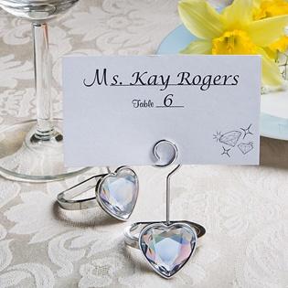 heart shaped engagement ring place cardphoto holders