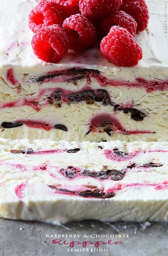Raspberry & Chocolate Ripple Semifreddo (basically a no-churn ice cream type of recipe)