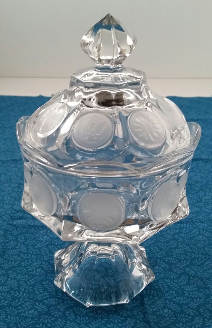 Fostoria Coin Glass Clear Candy Dish With Lid/1886 Collection/Fostoria Glass/Wedding Bowl With Lid/Compote with Lid/Candy Bowl With Lid by NatomisTreasures on Etsy