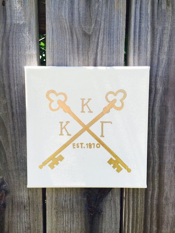 Kappa Kappa Gamma Hipster Key Canvas  Square by Luxeworthy on Etsy