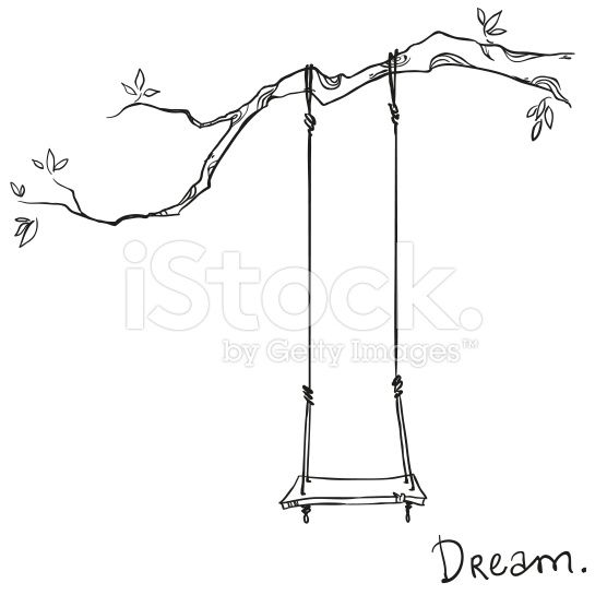 tree with a swing. Vector illustration. lizenzfreie Stock-Vektorgrafik