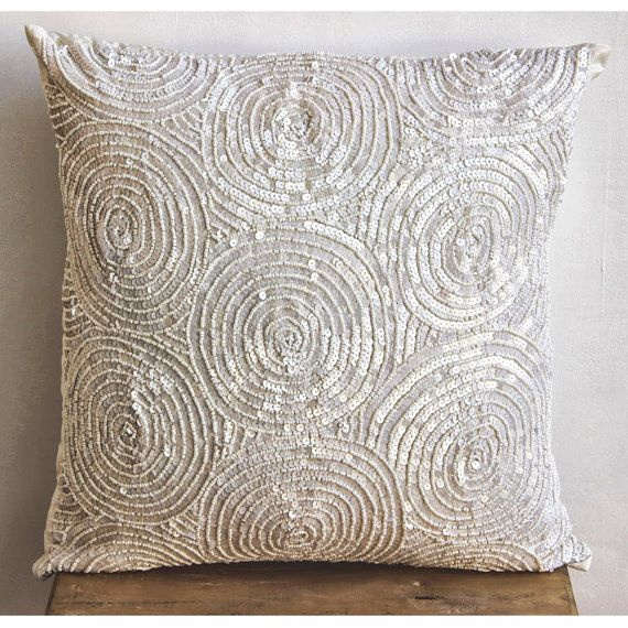 Decorative Throw Pillow Covers Accent Pillow Couch 16 Inch Silk Pillow Cover Sequins Embroidered Ivory Swirls Bedding Home Decor Housewares