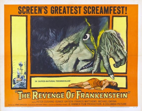 'THE REVENGE OF FRANKENSTEIN' (1958). We watch Baron Frankenstein escaping from the guillotine and going to Germany. There, he names himself Dr. Stein and plans to restart his experiments by using parts of dead bodies... Click on the POSTER to view the trailer...