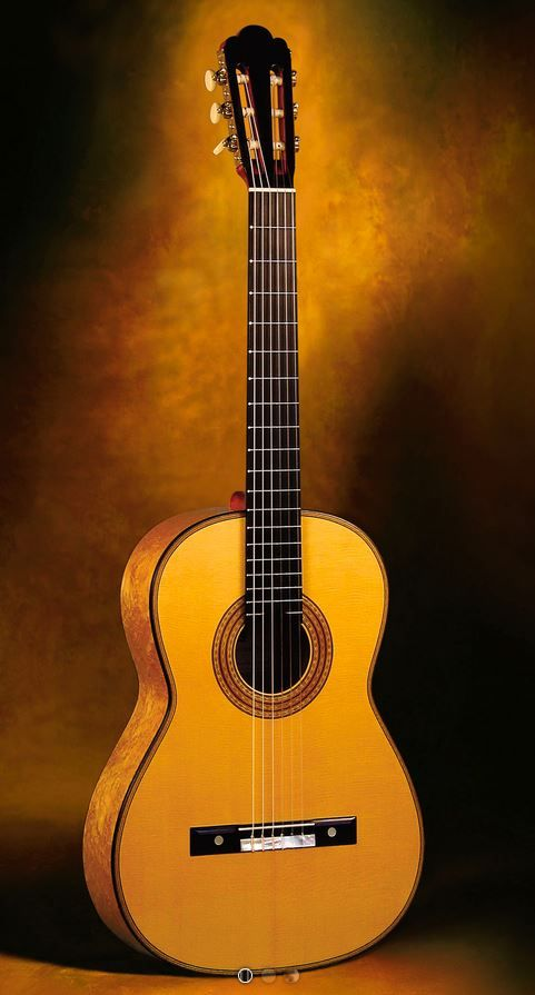 Classical Guitars Simon Ambridge, England Antonio de Torres 1887 SE 111 Model Classical Guitar Birdseye maple/spr. Rodgers Tuning Machines Pre-Owned 2008 $11,500.00 Inquire Here: 216.752.7502 Very old book matched Birdseye maple sides and back, old straight grain European spruce soundboard, immaculate French polish of shellac finish, custom Rodgers precision tuning machine heads (the finest in the world) with synthetic ivory oval buttons (reproductions of old Jerome machine heads)…
