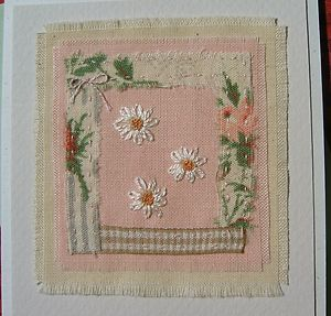 Hand-stitched card designed/made by Helen Drewett LAZY DAISIES more in my shop! | eBay