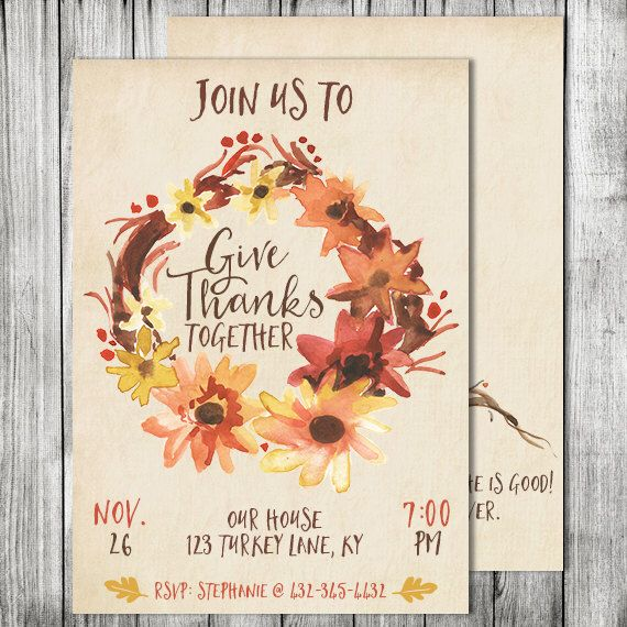 Thanksgiving Invite -Friendsgiving Invite - Holiday Invite - Double Sided Card - 5x7 JPG (Front and Back Design) by CherryBerryDesign on Etsy https://www.etsy.com/listing/246024057/thanksgiving-invite-friendsgiving-invite