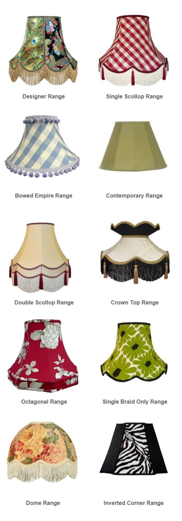 Lampshade Styles We Ve Got Many Different Shapes For You