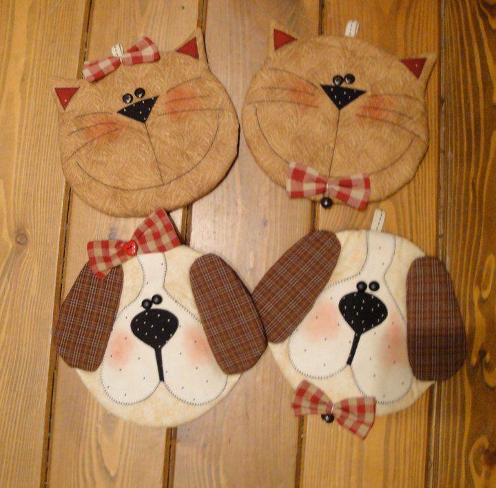 ❤️ cute cat and dog mug rugs