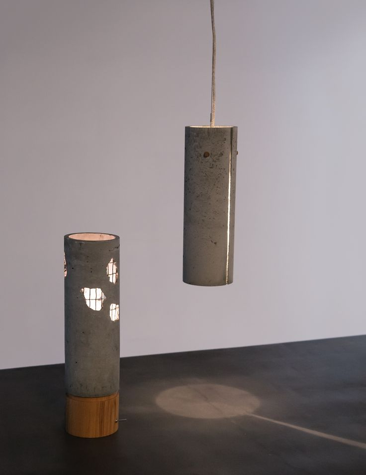 Broken office. Hand made office lamp from wood and concrete Slice. Hand made pendant lamp from concrete