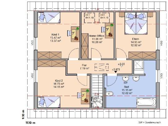 Good Grundriss Dachgeschoss Office ud begehbarer Kleiderschrank im Bad nur ein Waschbecken daf r Mauer