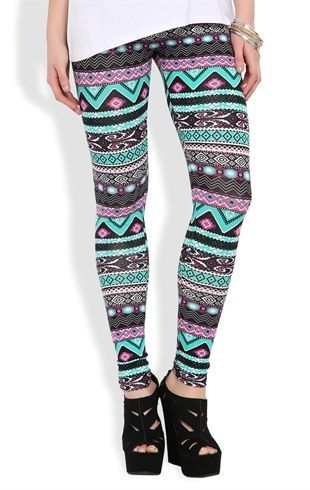 Deb Shops #Legging with Multicolor #Tribal Sun Scroll Print $11.17