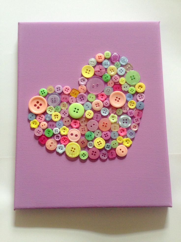 Hand-painted canvas with buttons heart design