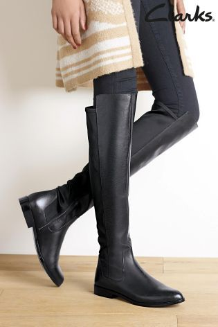 Buy Clarks Bizzy Girl Black Leather Knee High Boot From