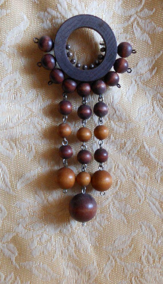 Large Aarikka Finland Brooch Vintage Wood Beads by MyCreations4U, $69.00