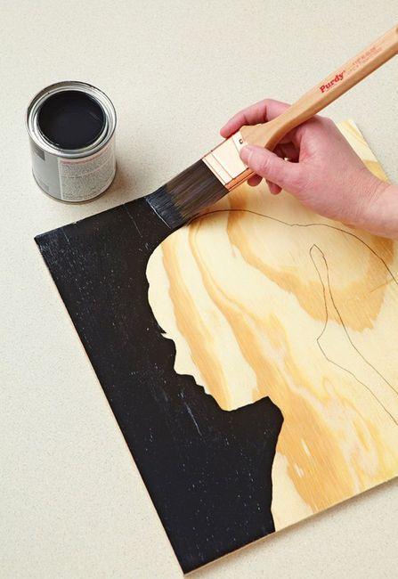 silhouette: Wall Art, Projects, Silhouette Art, Gifts Ideas, Diy Crafts, Silhouette Wall, Diy Silhouette, Woods Grains, Kids