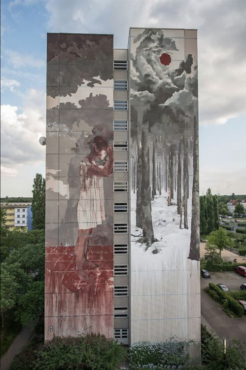 Street art by Borondo WILLKOMMEN REFUGEES June 2016 Tegel Berlin Borondo wasinvited by Urban Nation